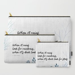 Oscar Wilde Quote - When it rains look for rainbows Carry-All Pouch