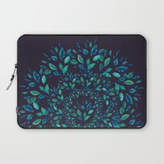 Blue Leaves Mandala Laptop Sleeve
