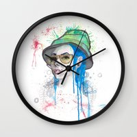 fear and loathing Wall Clocks featuring Fear and Loathing by Becca Douglas