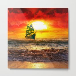Black Pearl Pirate Ship Metal Print