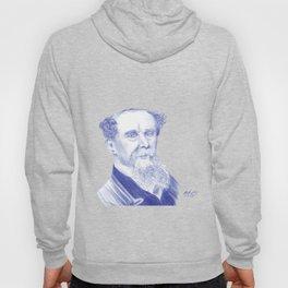 Charles Dickens Portrait In Blue Bic Ink Hoody