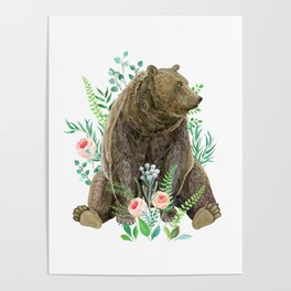 bear sitting in the forest Poster