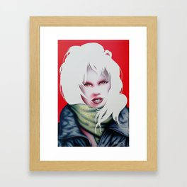 Girl with leather jacket Framed Art Print