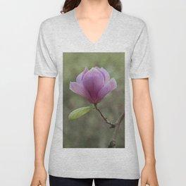 Pretty pink magnolia flower Unisex V-Neck