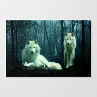 wolves Canvas Prints featuring Wolves by Julie Hoddinott