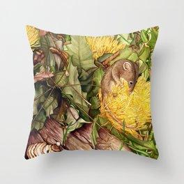 Honey Possum in Dryandra Throw Pillow