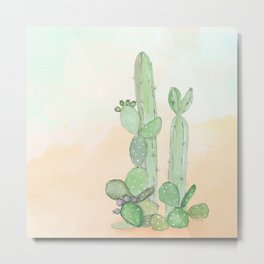 Watercolor Cactus By Journey Home Made Metal Print