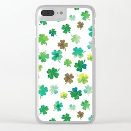 Lucky Watercolor Clovers Clear iPhone Case