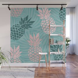 Tropical Pineapple and Palm Leaf Pattern, Teal and Pink Wall Mural