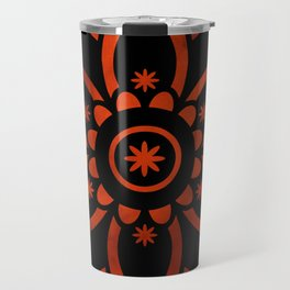 Burnt Orange & Black Patterned Flower Mandala Travel Mug