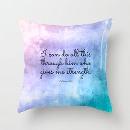 Philippians 4:13, Inspiring Bible Verse Throw Pillow