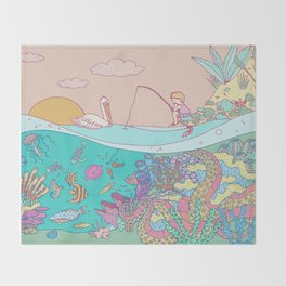 Busy underwater Throw Blanket