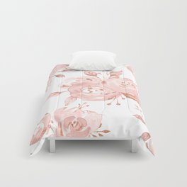Roses Rose Gold Glitter Pink by Nature Magick Comforters