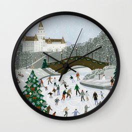 Ice skating pond Wall Clock