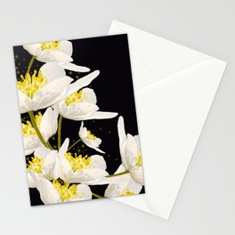 White Flowers On A Black Background #decor #buyart #society6 Stationery Cards