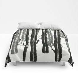 wood and snow Comforters