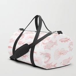 Fishes in living coral color Duffle Bag
