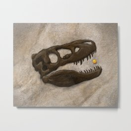 Tyrannosaurus Rex with Orange to scale Metal Print