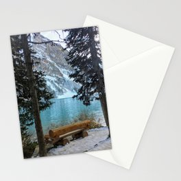 A quiet bench on Lake Louise Stationery Cards