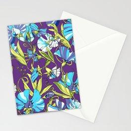 Fairytale Floral Pattern in Blue Lollipop Pinwheels & Persian-Purple Stationery Cards