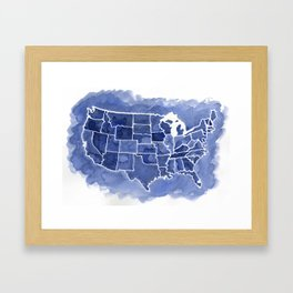 Watercolor Map of America Framed Art Print