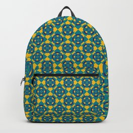 Simple geometric boat helm in blue and yellow Backpack