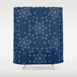 Winter Snowflake Texture Drawn Starry Snow Shower Curtain