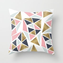 Modern geometrical pink navy blue gold triangles pattern Throw Pillow