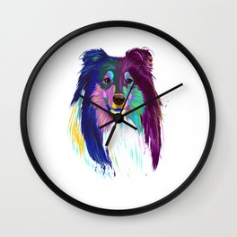 Colored Rough Collie Dog Wall Clock