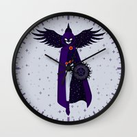raven Wall Clocks featuring RAVEN by badOdds
