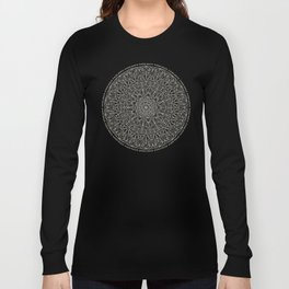 Gray Circle of Life Mandala on White Long Sleeve T-shirt