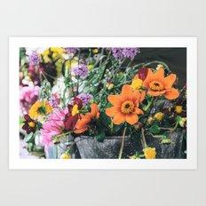 Retro Garden Still Life Art Print