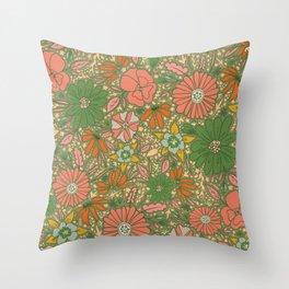 Retro Garden Party (green / pink)  Throw Pillow