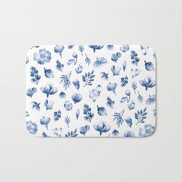 Blue & White Floral Pattern Bath Mat