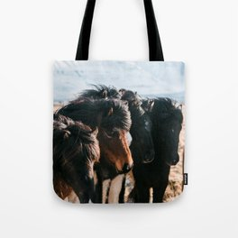 Horses in Iceland - Wildlife animals Tote Bag