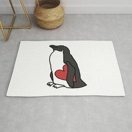 Penguin Holding Heart Rug