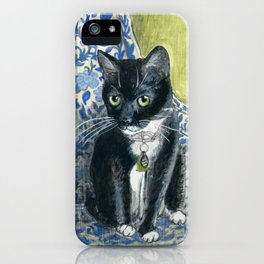 Sweet Tuxedo Cat on Blue Floral Chair iPhone Case