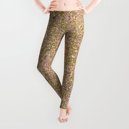 Blush Pink & Gold Glam Glitter Sparkle Leggings