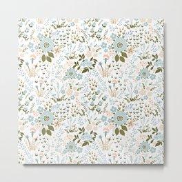 Star Sapphire Floral Celebration Teal Metal Print