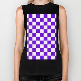 Checkered - White and Indigo Violet Biker Tank