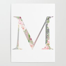M - Floral Monogram Collection Poster
