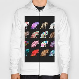 Cat Licking its Paw Aztec Floral Stripes Pattern Hoody
