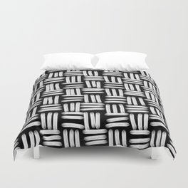 Black and White Basketweave Strokes Duvet Cover