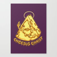 christ Canvas Prints featuring Cheesus Christ by Lili Batista