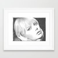 emma stone Framed Art Prints featuring Emma Stone Portrait  by jdash9