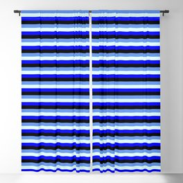 Cornflower Blue, Light Cyan, Blue & Black Lined Pattern Blackout Curtain
