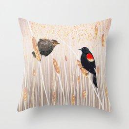 Red Winged Black Bird Throw Pillow