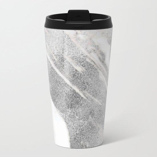 Marble - Silver Glitter on White Metallic Marble Pattern Metal Travel Mug