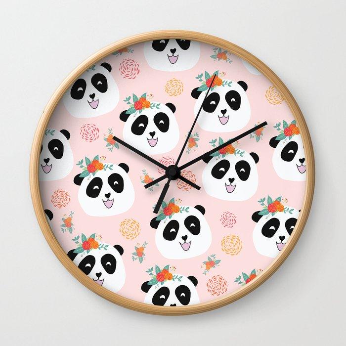 Panda bear with flowers seamless pattern Wall Clock