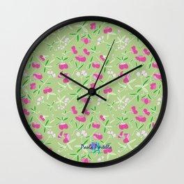 Summer Pink Flower Wall Clock